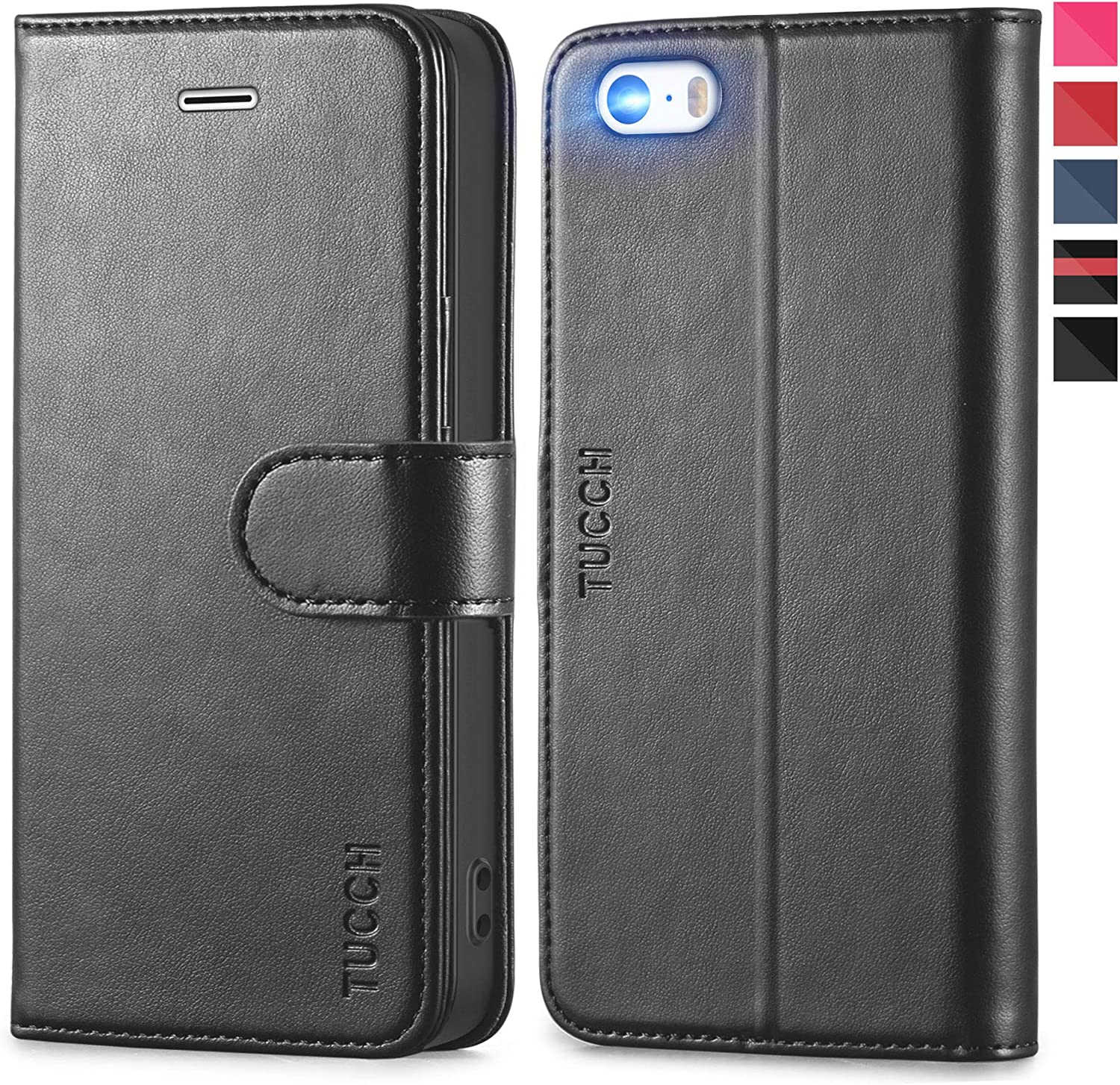 TUCCH iPhone SE 2016 Edition/5s/5 Case, Flip Stand PU Leather Folio Book Cover with [TPU Interior Case] Credit Card Slots, Magnetic Closure Compitible with iPhone SE/iPhone 5s/iPhone 5, Black