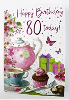 Happy 80th Birthday Greeting Card Ladies Quality Verse Luxury Friend Female Her