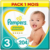 Pampers - Premium Protection - Couches Taille 3 (5-9 kg) (6-10kg) - Pack 1 mois (x204 couches)