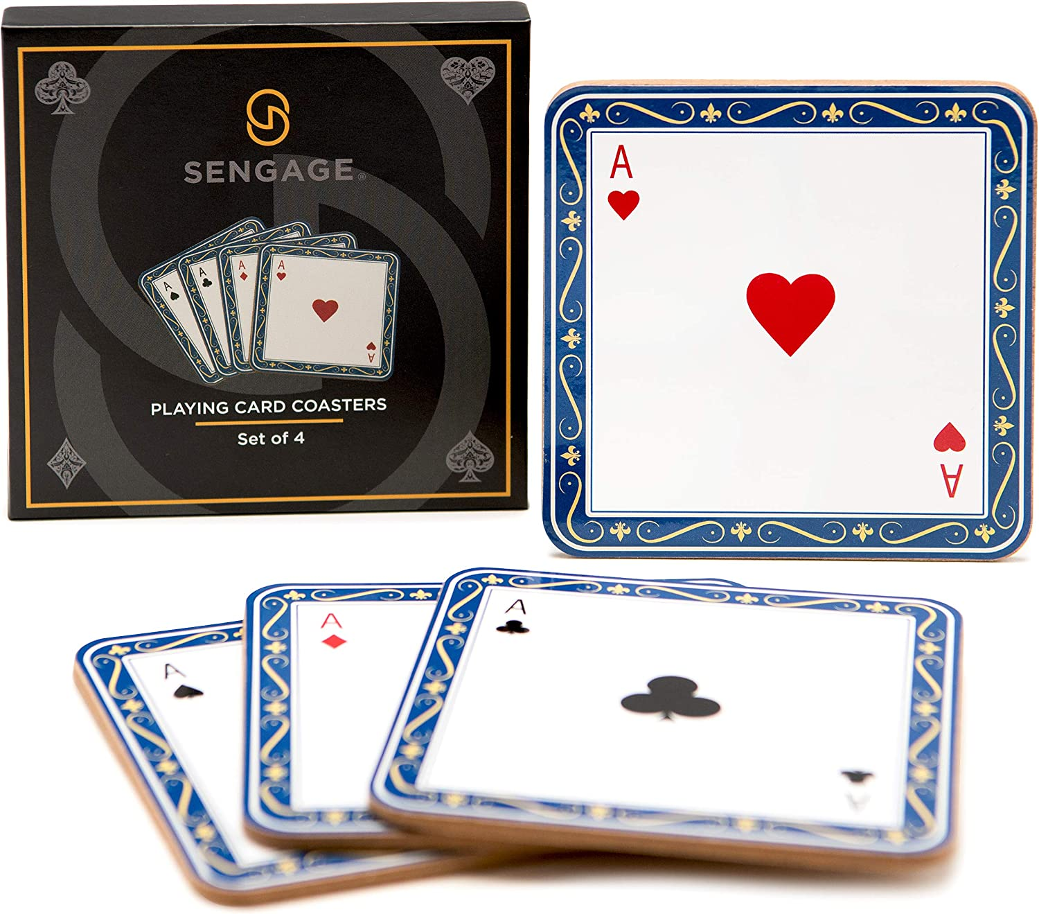 Playing Card Coasters for Drinks, Bar Coasters for Glasses, 4 Cork Beer Coasters for Cups, Unique Novelty Present for Man Cave Bar or Bar Décor for Home, Square Cup Mats for Table, Drink Coaster Set