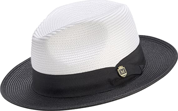 48db83d5dc8e4 MONTIQUE Classic Straw Fedora, Two-Tone Wide Brim Pinch Hat, with Color  Accent