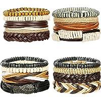 LOYALLOOK 16Pcs Leather Bracelets for Men Women Wooden Beaded Bracelets Braided Cuff Multi Layer Stackable Bracelet