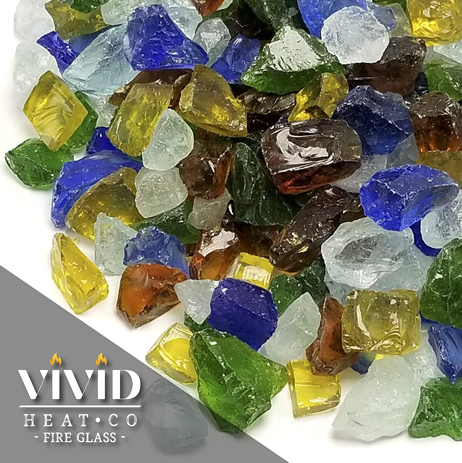 5-Pound Large 1//2 3//4 /& 1 inch Size VIVID Heat Emerald Green Premium Outdoor Crushed Fire Glass Rock Fire Table Etc. Fireplace Glass use in Gas Fire Pit