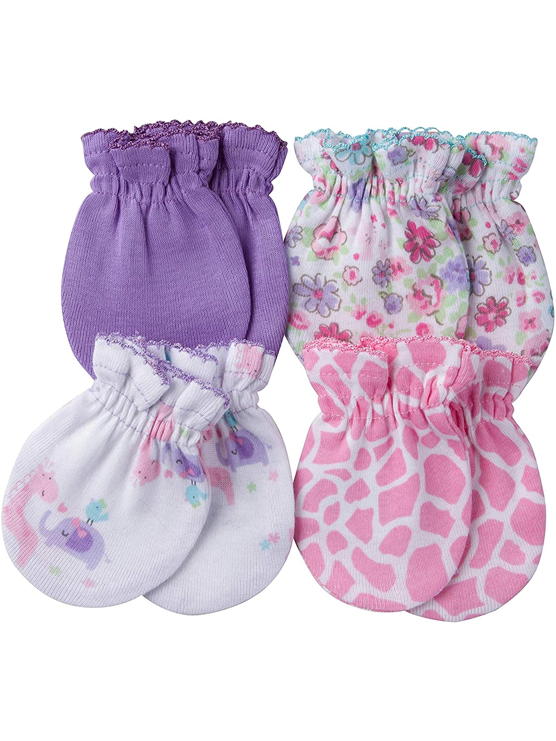 Gerber Newborn Baby Girl Assorted Mittens, 4-Pack
