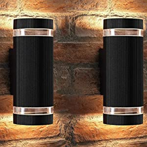 Outdoor Wall Light,Bling Exterior Lighting - ETL Listed,Aluminum Waterproof Wall Mount Cylinder Design - Up Down Light Fixture for Porch, Backyard and Patio (Semi Cylinder 2 Pack)