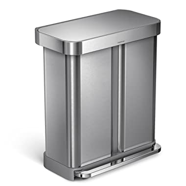 simplehuman 58 Liter / 15.3 Gallon Stainless Steel Dual Compartment Rectangular Kitchen Step Trash Can Recycler with Liner Pocket, Brushed Stainless Steel