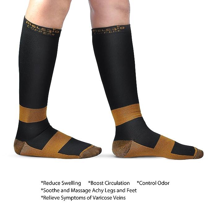 Amazon.com: MELERIO Compression Sock with Copper Fibers for Men and ...