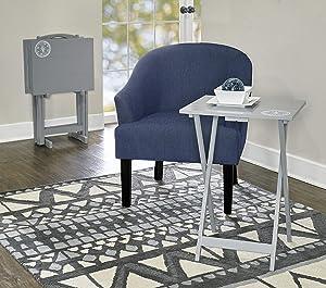 Linon Home Décor AMZN1142 SAMM TV, Gray Tray Table Set,