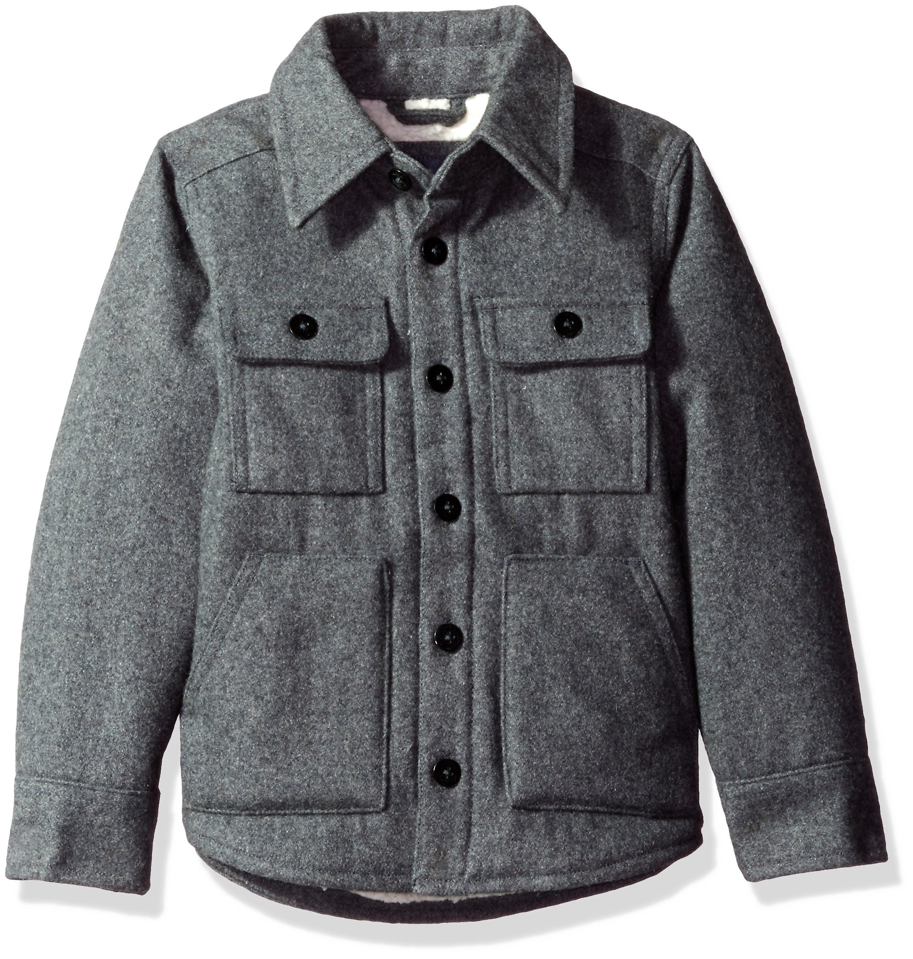The Children's Place Big Boys' Classic Wool Coat, Gray, M (7/8)