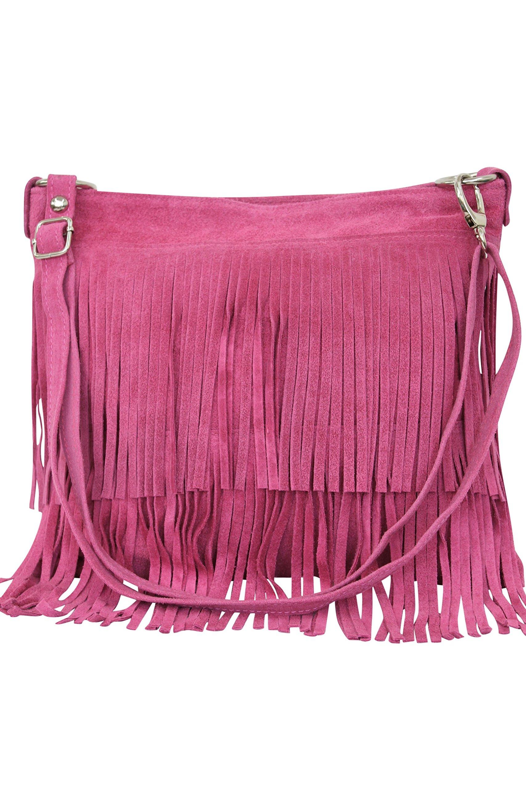 AMBRA Moda bolso de las señoras gamuza con refriega WL809 (rosa)