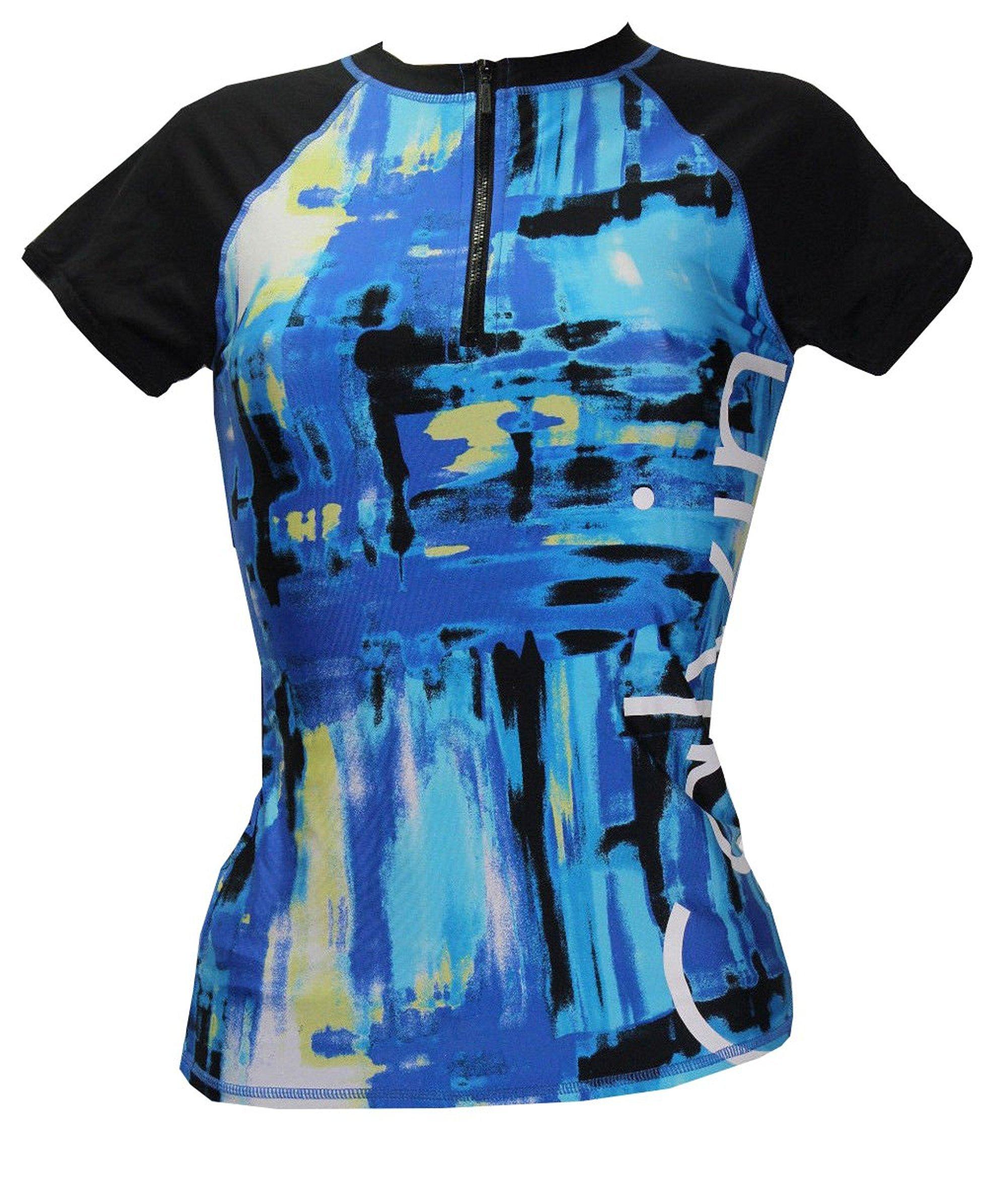 Calvin Klein Women's Short-Sleeve Rashguard (Cyan/Navy, Large)