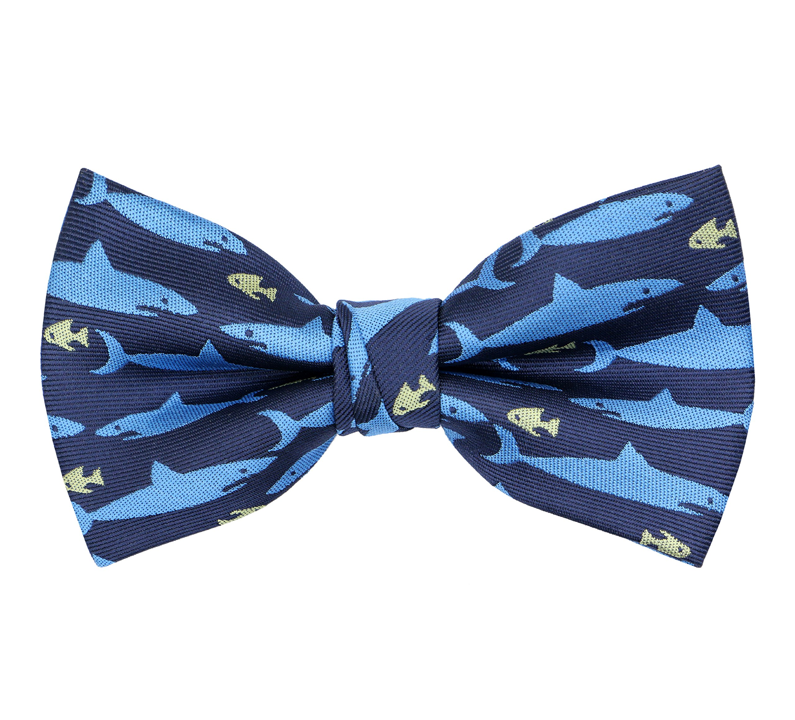 OCIA Boys Pattern Bow Ties Kids Tuxedo Pre-tied Bowties Party & Wedding Blue Shark