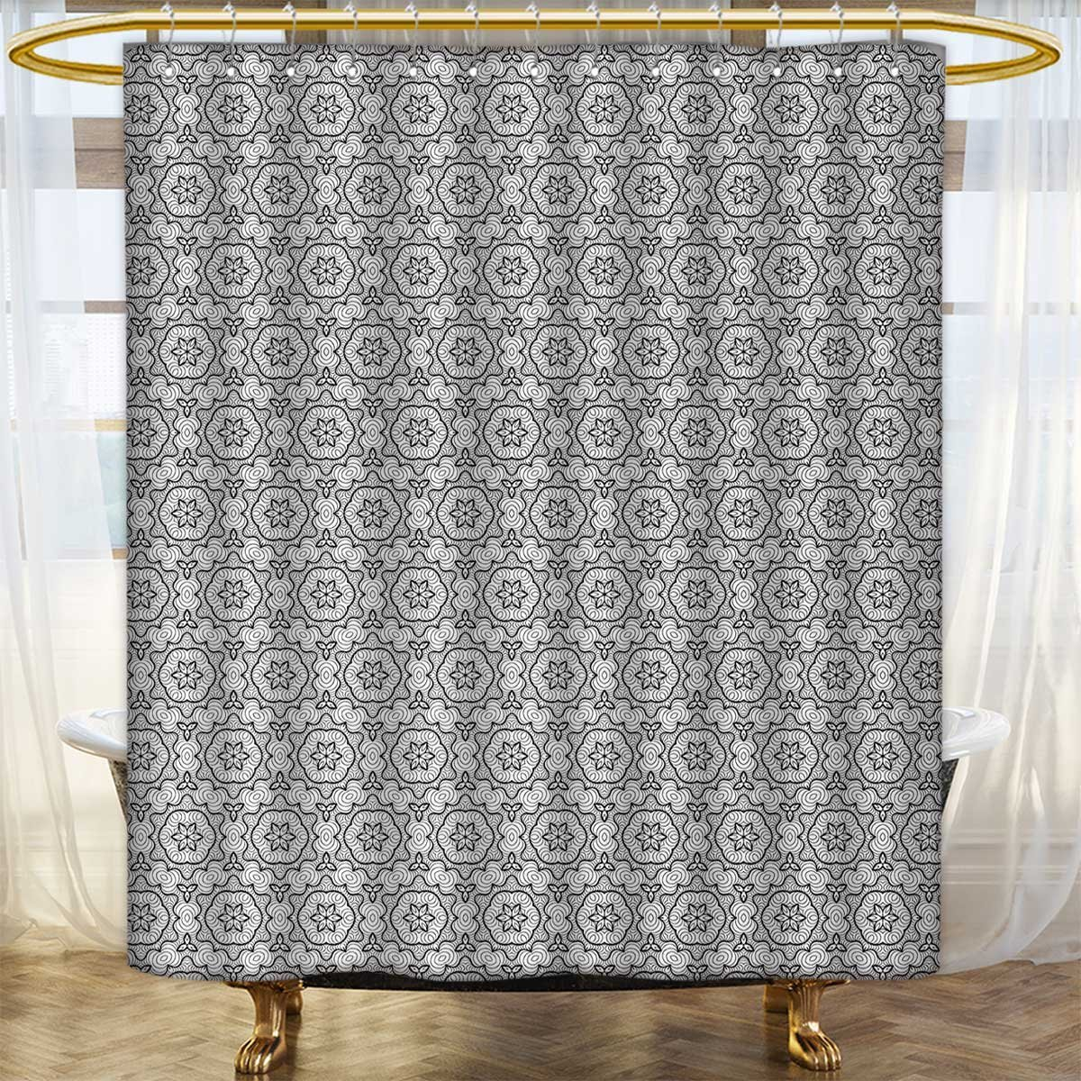 color10 54 x 84 (inch) color10 54 x 84 (inch) Anhounine Black and White Shower Curtains Mildew Resistant Abstract and Artistic Mandala Style Floral Symmetrical Simple Motifs Tile Bathroom Decor Sets with Hooks 54 x84  Black White