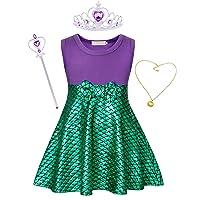 Cotrio Little Mermaid Sleeveless Dress Up Ariel Princess Costume Girls Fancy Party Dresses
