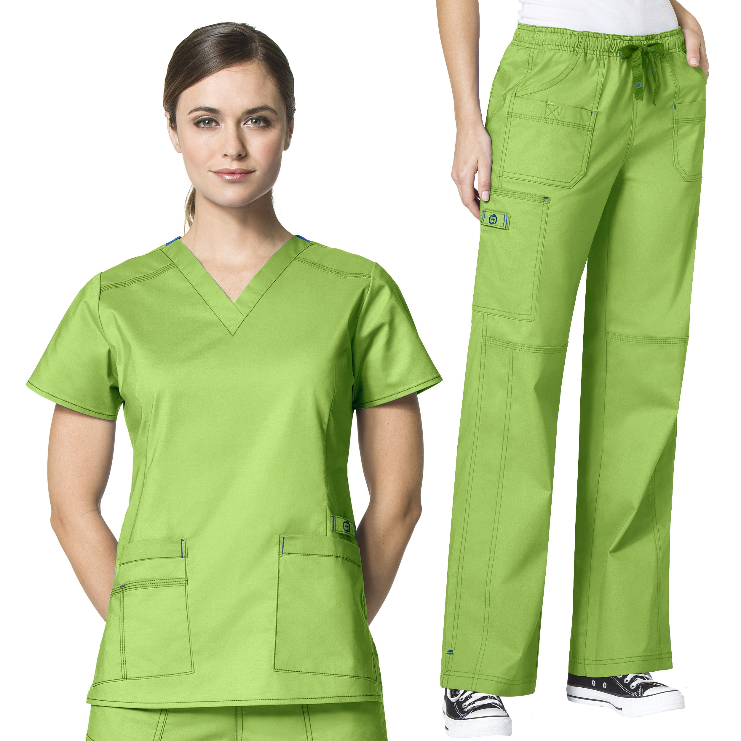 WonderWink Women's Scrubs Flex V-Neck Darted Top & Multi Pocket Cargo Pant Set + Free Gift