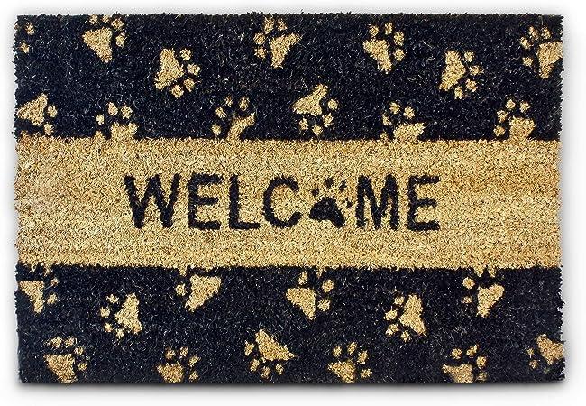 Relaxdays Paillasson fibres de coco Imprim/é Welcome et pattes de chat 60 x 40 cm tapis de sol porte entr/ée dessous antid/érapant caoutchouc PVC int/érieur ext/érieur essuie-pieds natte noir