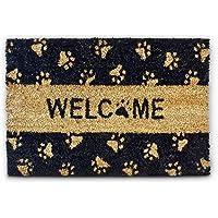 """Relaxdays Zerbino da Ingresso con Scritta Welcome, Decorato con Zampette, 40 x 60 cm, Fibra di Cocco, Zerbino da Ingresso con Scritta """"Welcome"""" Decorato con Zampette 40 x 60 cm, in fibra di cocco, pvc"""