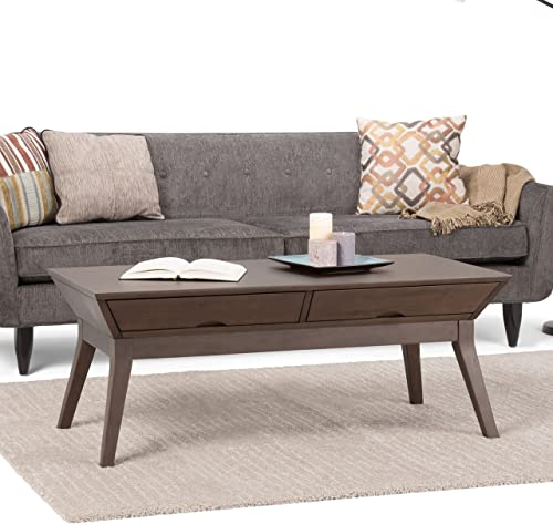 Simpli Home Tessa SOLID HARDWOOD 48 inch Wide Rectangle Contemporary Modern Coffee Table in Walnut Brown with Storage, 2 Drawers, for the Living Room, Family Room