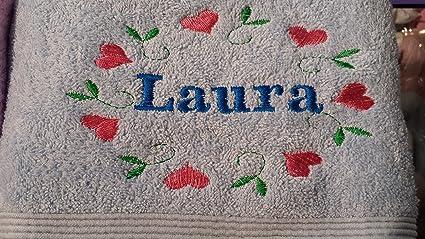 Algodón egipcio de toalla de baño (personalizado con un nombre y flores anillo Ladies mensaje