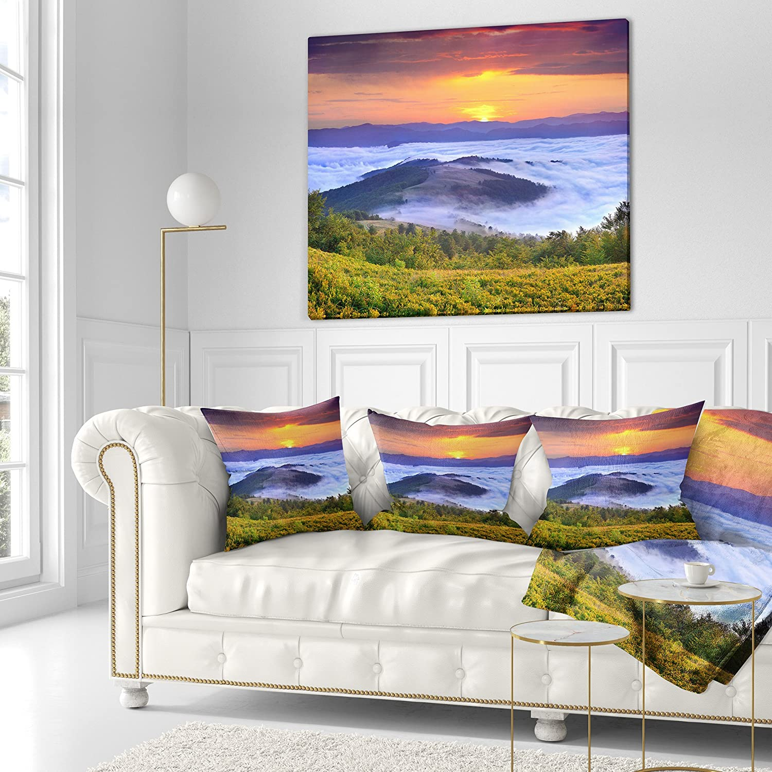 in Sofa Throw Pillow 16 in x 16 in Designart CU9618-16-16 Yellow Sunrise Over Blue Waters Landscape Photo Cushion Cover for Living Room