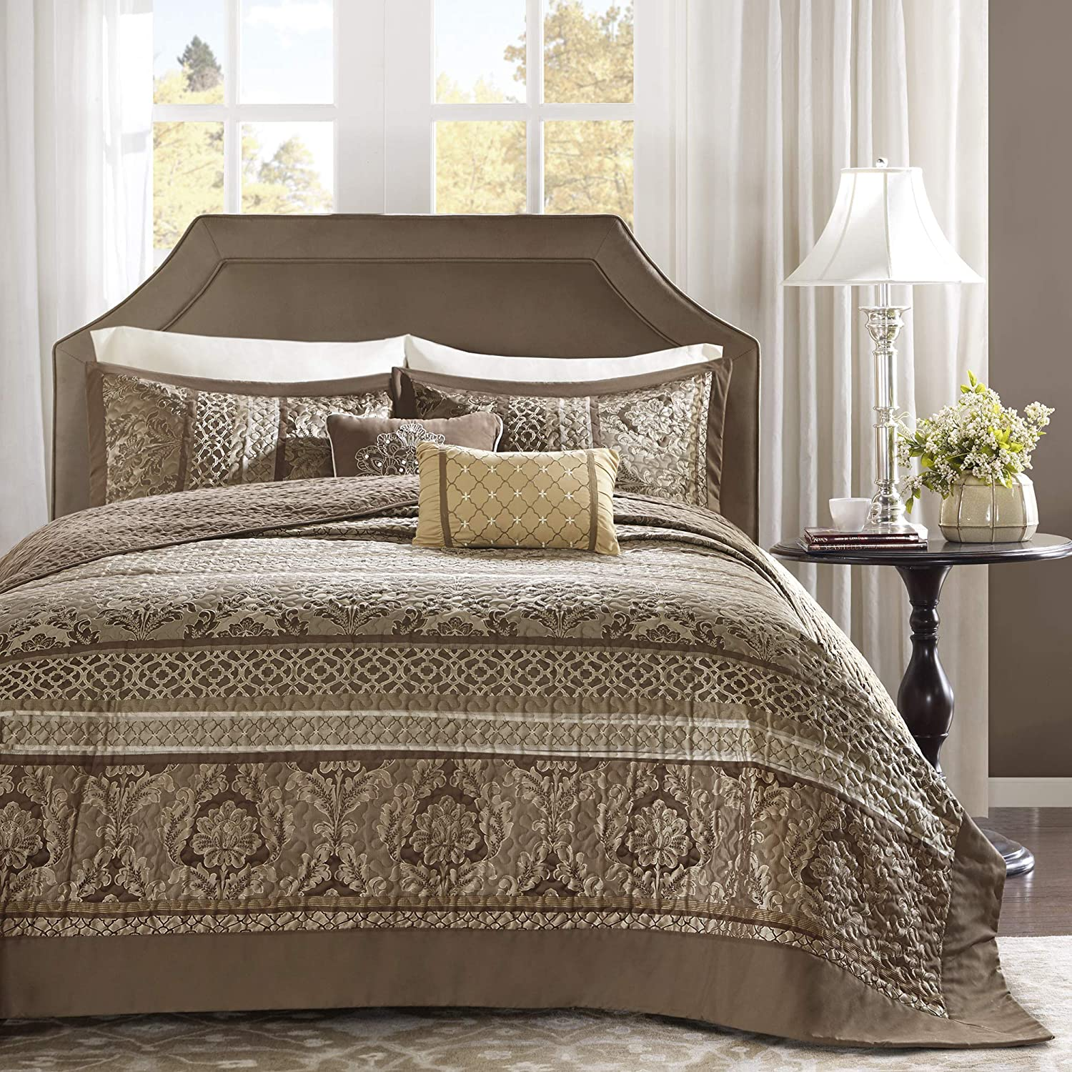 Madison Park Striped Bedspread Set, Oversize Queen, Brown/Gold