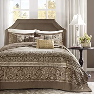 "Madison Park Striped All Season, Coverlet Bedspread Lightweight Bedding Set, Shams, Decorative Pillow, Oversized Queen(102""x118""), Bellagio Brown/Gold 5 Piece"