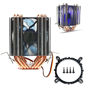 YaeKoo AVC 6 Heat Pipes Blue Led CPU Cooling Fan Cooler Heat Sink for Intel  Lag 1156/1155/1150/775 AMD Socket AM3/AM2