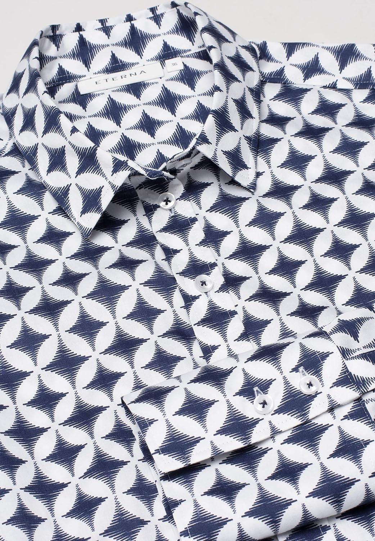Eterna Long Sleeve Blouse Modern Classic Printed Blu Marino/Bianco