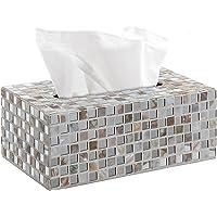 White Contemporary Glass Mosaic Tiled Design Facial Tissue Refill Holder/Decorative Napkin Box Cover