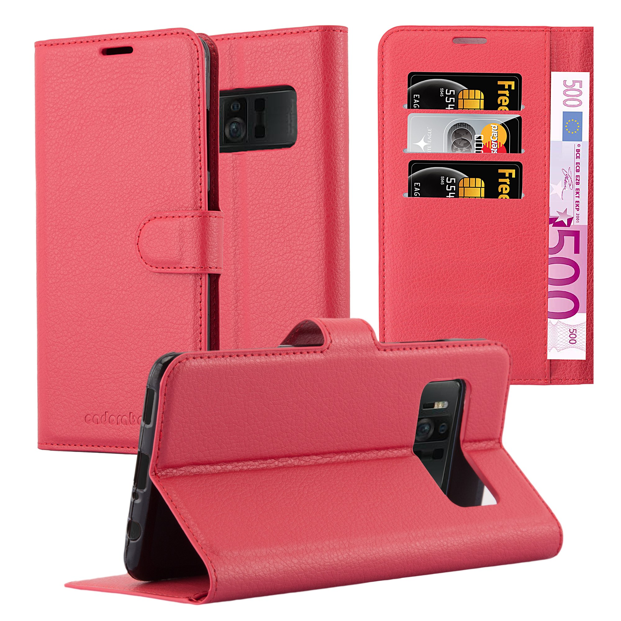 Cadorabo Case works with ASUS ZenFone AR Book Case in CANDY APPLE RED – with Magnetic Closure, Stand Function and Card Slot – Wallet Case Etui Cover PU Leather Flip