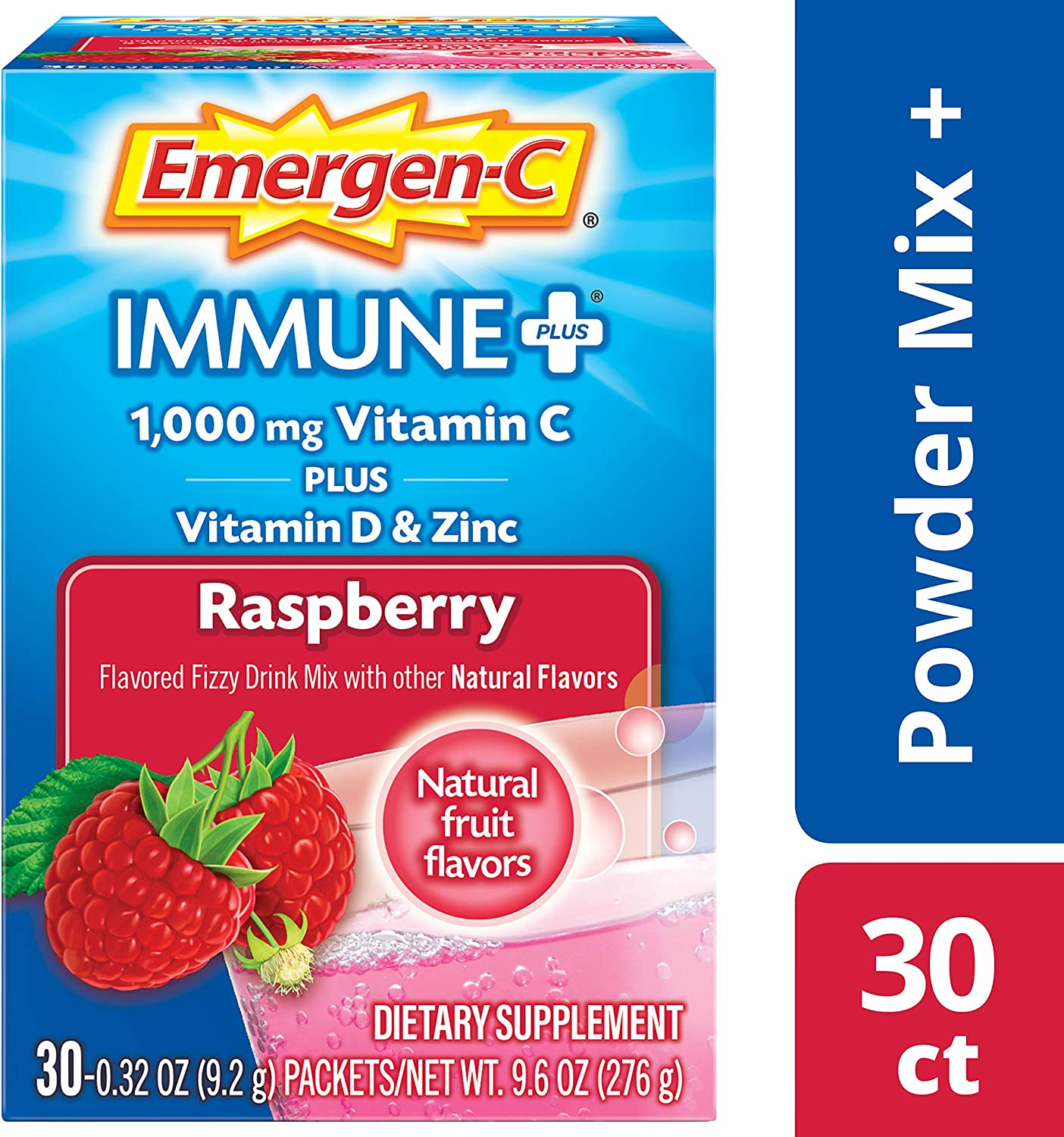 Emergen-C Immune+ Vitamin C 1000mg Powder, Plus Vitamin D And Zinc (30 Count, Rapsberry Flavor, 1 Month Supply), Immune Support Dietary Supplement Fizzy Drink Mix, Antioxidants & Electrolytes
