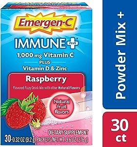 Emergen-C Immune+ Vitamin C 1000mg Powder, Plus Vitamin D And Zinc (30 Count, Rapsberry Flavor, 1 Month Supply), Immune Support Dietary Supplement Fizzy Drink Mix, Antioxidants & Electrolytes