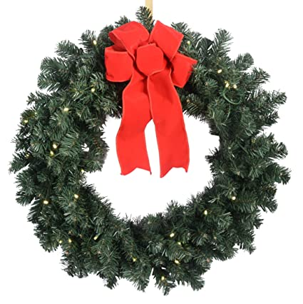 24 Inch Balsam Pine Christmas Wreath With 180 Tips and 36 LED Lights -  Battery Operated - 24 Inch Balsam Pine Christmas Wreath With 180 Tips And 36 LED Lights -  Battery Operated With Timer