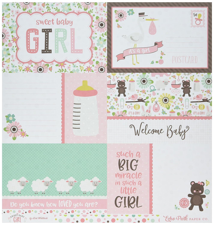 Echo Park 紙製日記カード マルチドット スイートな女の子の赤ちゃん用 両面カードストック 12インチ×12インチ B079X4Y1RB