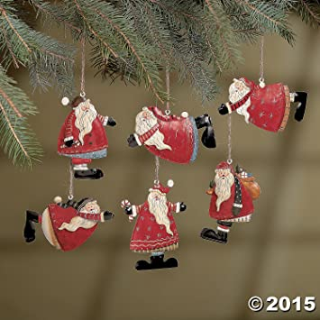 Amazon.com: Set of 6 Painted Tin Santa Folk Decoration Christmas ...