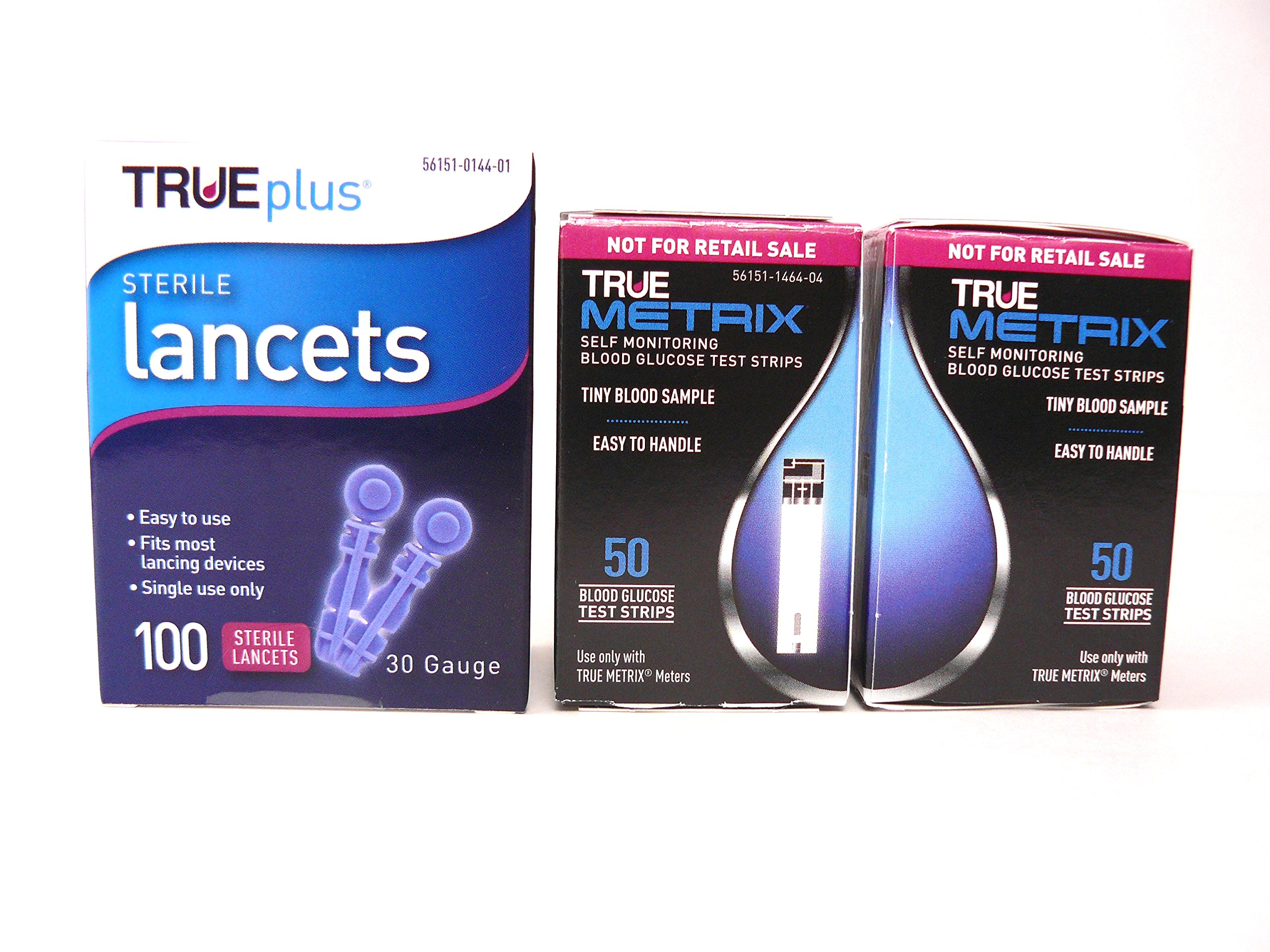 True Metrix Blood Glucose Test Strips 100ct and True Plus 30g Lancets 100ct by TRUE METRIX