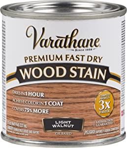 Varathane 262034 Premium Fast Dry Wood Stain, Half Pint, Light Walnut