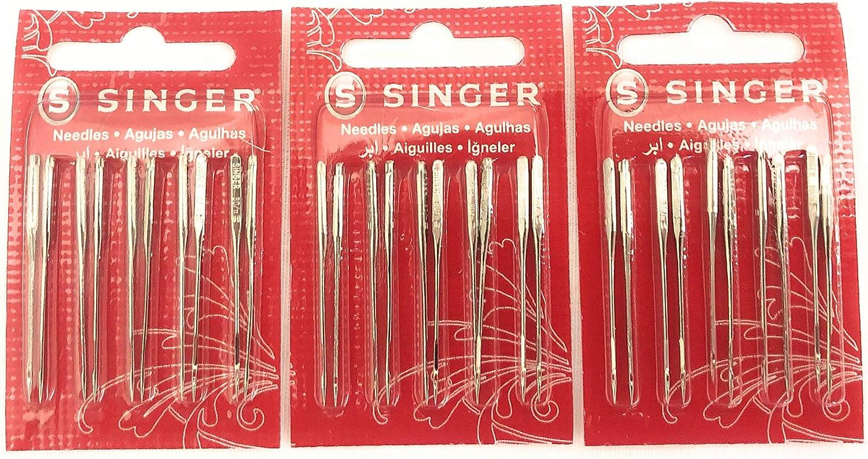 Singer Agujas para máquina de coser 2020, banda roja tamaño 11/80 (30 unidades)