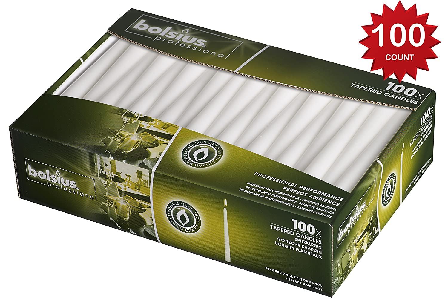 Taper 10inch Candles Color: White 100 count Bolsius P960