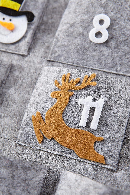HEITMANN DECO Natale Decorazione Natalizia Grigio Calendario dellAvvento a Forma di Babbo Natale in Feltro da Appendere e riempire Bianco