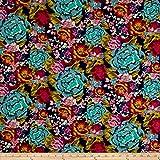 Art Gallery Boho Fusion Jersery Knit Aqua Di Rose Boho Fabric By The Yard