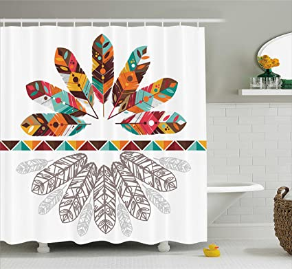 Ambesonne Tribal Shower Curtain Colorful Native American Historical Aztec Feathers Boho Kitsch Folk Abstract Design