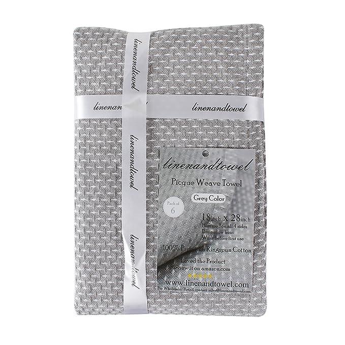 Pique Tejido toalla de cocina, juego de 6 por Lino y toalla: Amazon.es: Hogar