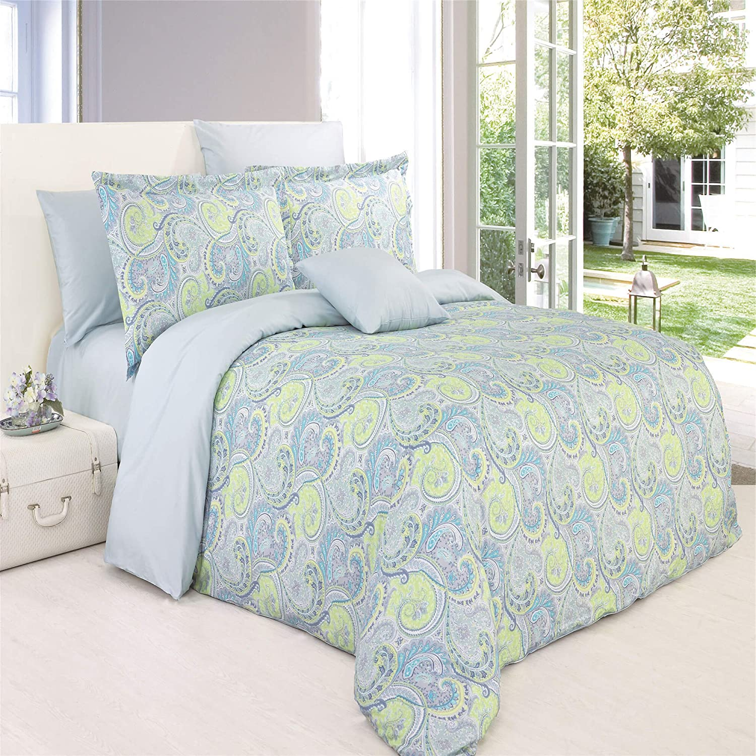 North Home CHEERY00DCTW 100/% Cotton Duvet Cover Set Twin Flower Green 4 Piece