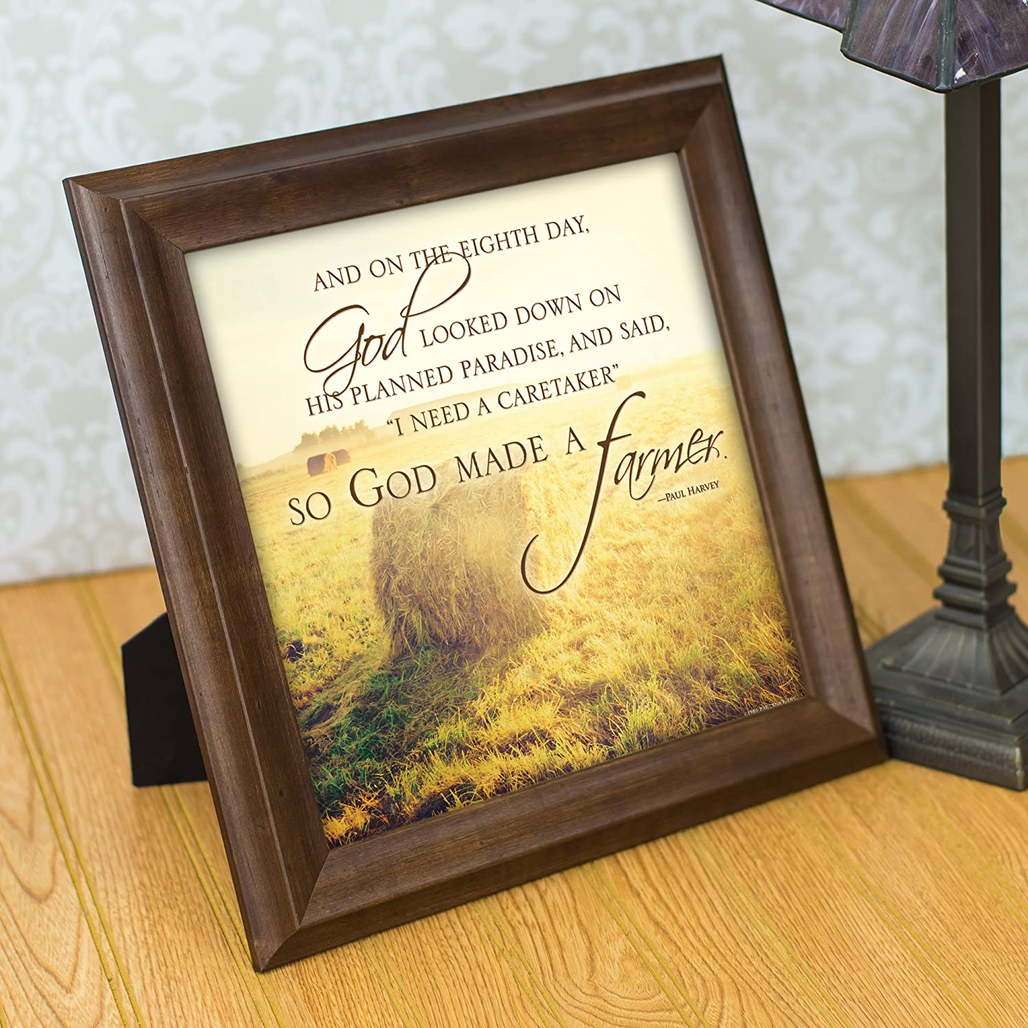 Amazon.com: So God Made a Farmer Hay Bales 12 x 12 Framed Art Wall ...