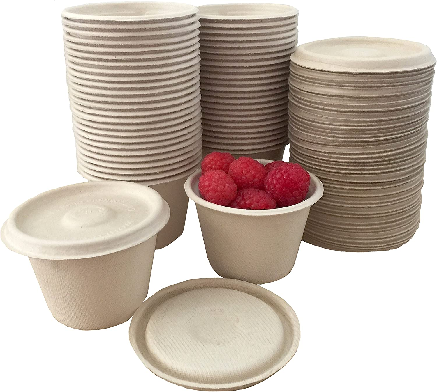 4 Ounce Souffle Cups and Lids - 100% Biodegradable and Compostable - Bagasse/Wheat Fiber - 50 Pack Outside the Box Papers Brand