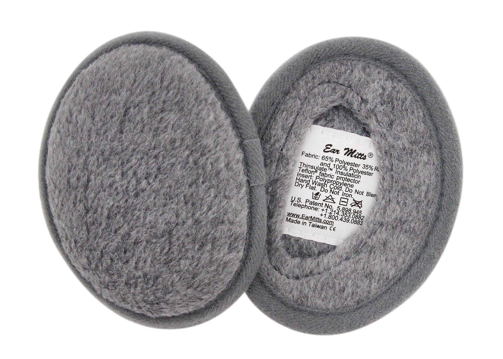 Ear Mitts Bandless Ear Muffs For Men & Women, Gray Fleece Ear Warmers, Regular