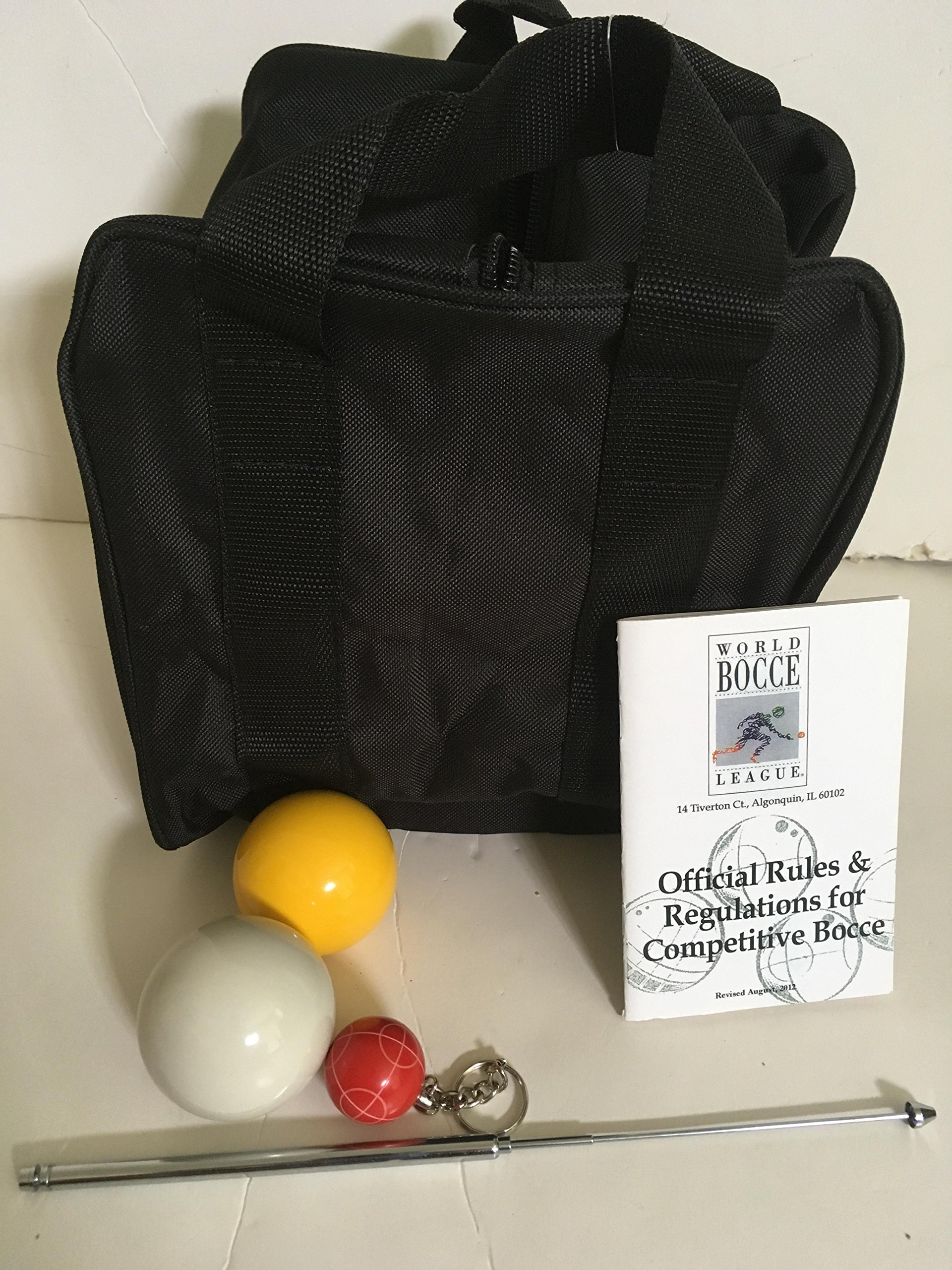 Unique Bocce Ball Accessories Package - Extra Heavy Duty Nylon Bocce Bag (Black with Black Handles), yellow and white pallinas, Extendable Measuring Device, Rule Book and Keychain