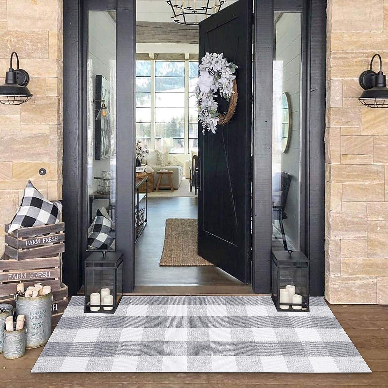 Buffalo Plaid Check Outdoor Rug Grey 2' x 4.3' Farmhouse Rug Hallway Runner Checkered Washable Runner for Kitchen/Laundry/Bathroom/Bedroom