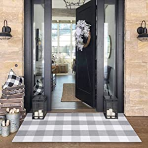 Buffalo Plaid Check Outdoor Rug Grey 2' x 4.3' Farmhouse Rug Hallway Runner Checkered Washable Runner for Kitchen/Laundry/Bathroom/Bedroom